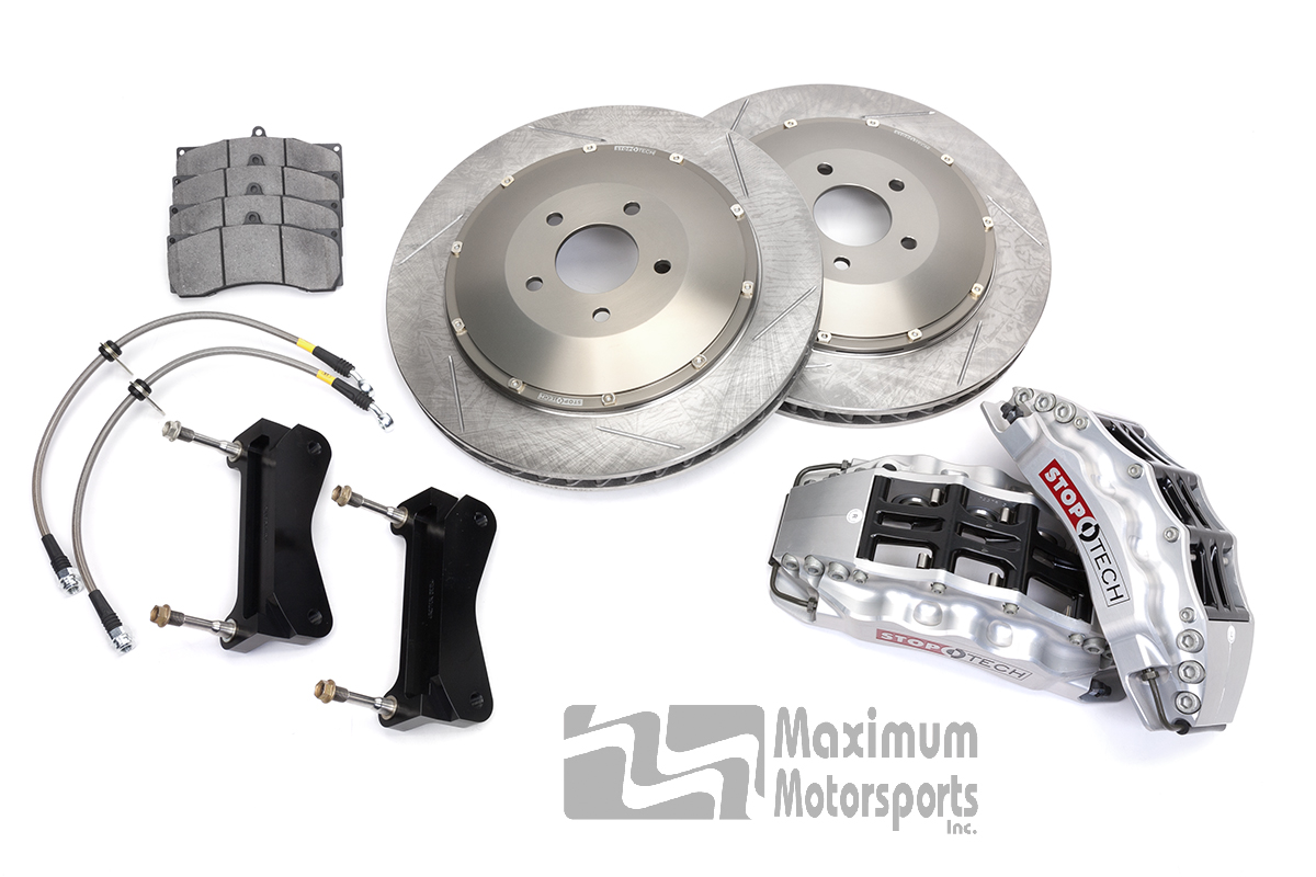 "StopTech Trophy Sport Brake Kit, 15"" rotors, 6-piston STR calipers, 2007-2014 GT500 and 2012-2014 Mustang with OEM Brembo calipers"