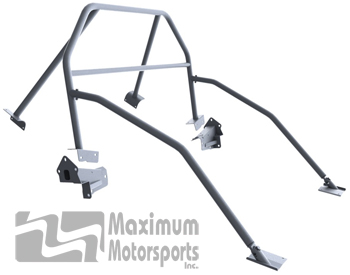 Drag Race 6-point Mustang Roll Bar, E-Z-Remove door bars, fixed harness mount, 2005-2014 hardtop
